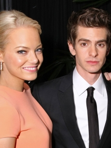 Emma Stone and Andrew Garfield are all smiles at the Sony Pictures Classic 68th Annual Golden Globe Awards Party held at The Beverly Hilton hotel in Beverly Hills, Calif. on January 16, 2011