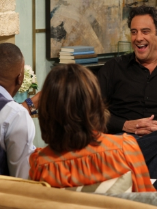 "Brad Garrett discusses his new TLC series, ""I Kid,"" with Kit Hoover and guest co-host Arsenio Hall on Access Hollywood Live on June 27, 2011"