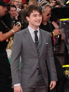 "Daniel Radcliffe attends the world premiere of ""Harry Potter and The Deathly Hallows - Part 2"" at Trafalgar Square, London, on July 7, 2011"