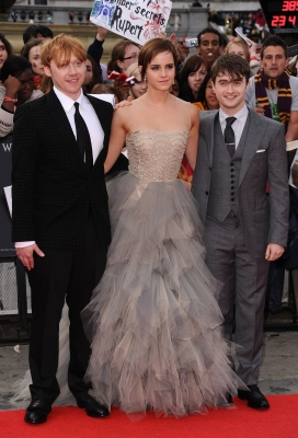 Rupert Grint, Emma Watson and Daniel Radcliffe attend the world premiere of &#8220;Harry Potter and The Deathly Hallows - Part 2&#8221; at Trafalgar Square, London, on July 7, 2011