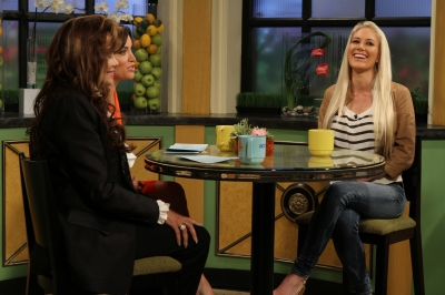 Heidi Montag pays a visit to Access Hollywood Live with Kit Hoover and guest co-host La Toya Jackson on June 30, 2011