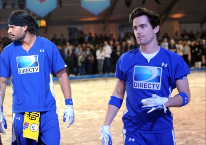Joe Manganiello and Matt Bomer compete in DIRECTV's Fifth Annual Celebrity Beach Bowl at Victory Park, Dallas, Texas, on February 5, 2011