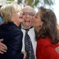 Florence Henderson and Dawn Wells give Sherwood Schwartz a kiss during his Walk of Fame ceremony on March 7, 2008 in Hollywood