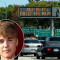 Justin Bieber / Los Angeles' 405 freeway