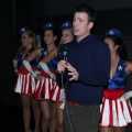 "Chris Evans stands with USO Girls as he talks to fans at the exclusive fan screening of ""Captain America: The First Avenger"" as part of Comic-Con at the UA Horton Plaza in San Diego, Calif., on July 21, 2011"