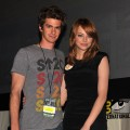 Andrew Garfield and Emma Stone speak at 'The Amazing Spider-Man' Panel during Comic-Con 2011 at San Diego Convetion Center on July 22, 2011 in San Diego, California
