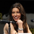 Jessica Biel smiles during the &#8216;Total Recall&#8217; Panel at Comic-Con 2011 in San Diego, Calif., on July 22, 2011 
