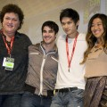 """Glee"" stars Dot-Marie Jones, Darren Criss, Harry Shum Jr. and Jenna Ushkowitz speak on stage during day four of Comic-Con held at the San Diego Convention Center in San Diego, Calif., on July 24, 2011"