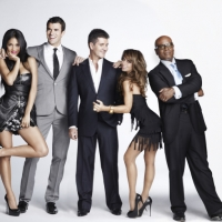 "Judge Nicole Scherzinger, host Steve Jones, and judges Simon Cowell, Paula Abdul and L.A. Reid pose in a promo photo for ""The X Factor"""