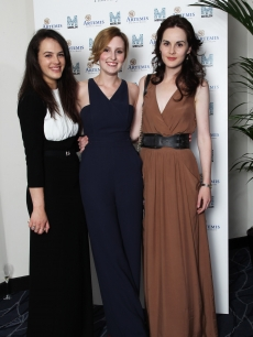 "Jessica Brown Findlay, Laura Carmichael and Michelle Dockery attend an Evening With ""Downton Abbey"" - Raising Money For Merlin - The Medical Relief Charity at The Savoy Hotel, London, on July 14, 2011"