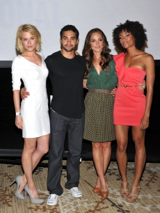 Rachael Taylor, Ramon Rodriguez, Minka Kelly and Annie Ilonzeh pose at the &#8216;Charlie&#8217;s Angels&#8217; Panel during Comic-Con 2011 at San Diego Convention Center on July 23, 2011