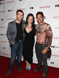 Liam McIntyre, Katrina Law and Manu Bennett attend Maxim&#8217;s celebration of FX and Twentieth Century Fox Home Entertainment at Comic-Con at Hotel Solamar, San Diego, Calif., on July 22, 2011