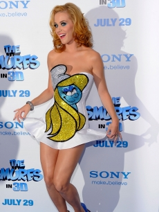 Katy Perry rocks a blond 'do and Smurfette dress at the premiere of 'The Smurfs' at the Ziegfeld Theater in New York City on July 24, 2011