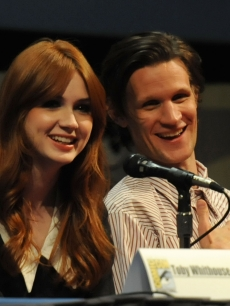 "Karen Gillan and Matt Smith speak at the ""Dr. Who"" panel during Comic-Con at the San Diego Convention Center in San Diego, Calif., on July 24, 2011"