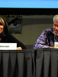 Katey Sagal and Ron Perlman speak at FX&#8217;s &#8220;Sons Of Anarchy&#8221; panel during Comic-Con at the San Diego Convention Center in San Diego, Calif., on July 24, 2011 