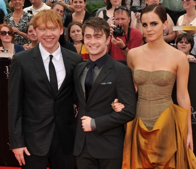 Rupert Grint, Daniel Radcliffe and Emma Watson attend the New York premiere of &#8220;Harry Potter and The Deathly Hallows: Part 2&#8221; at Avery Fisher Hall, Lincoln Center, New York City, on July 11, 2011