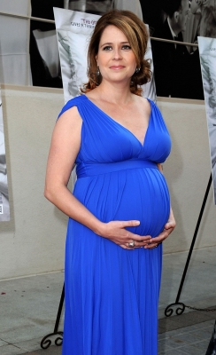"A pregnant Jenna Fischer arrives at the premiere ""A Little Help"" at Sony Pictures Studios in Culver City, Calif. on July 14, 2011"