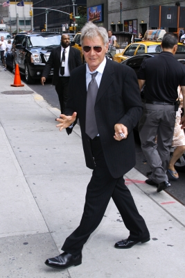"Harrison Ford stops by the ""Late Show with David Letterman"" in New York City on July 18, 2011"