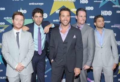 "Kevin Connolly, Adrian Grenier, Jeremy Piven, Kevin Dillon and Jerry Ferrara bond for one last time at the final season premiere of ""Entourage"" in New York City on July 19, 2011"