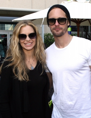 """True Blood's"" Kristin Bauer van Straten and Alexander Skarsgard hang out at the WIRED Cafe at the Omni Hotel during Comic-Con, San Diego, on July 23, 2011"