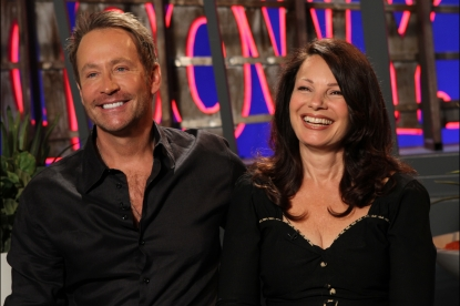 Fran Drescher and her ex-husband, Peter Marc Jacobson, visit Access Hollywood Live on July 13, 2011