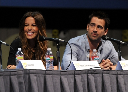 Kate Beckinsale and Colin Farrell speak at at the &#8216;Total Recall&#8217; Panel during Comic-Con 2011 at the San Diego Convention Center in San Diego, Calif., on July 22, 2011
