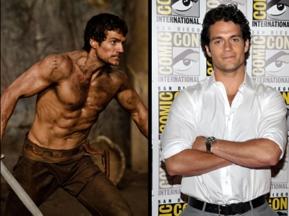 "Henry Cavill as Theseus in ""Immortals"" (left), and at Comic-Con in San Diego (right)"