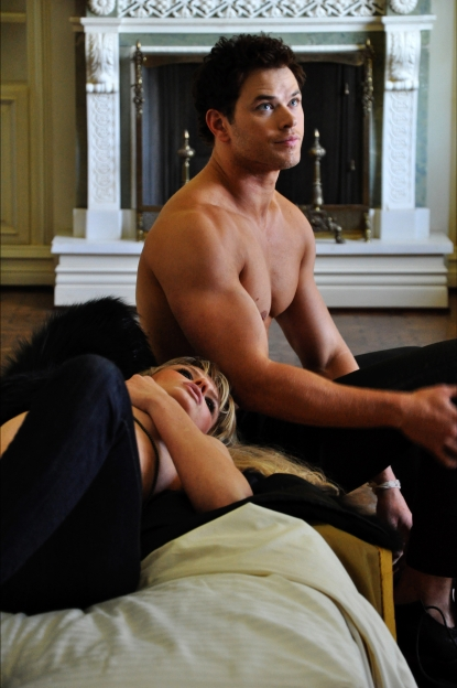 Kellan Lutz is seen behind the scenes as he models for the Dylan George and Abbot + Main by Dylan George Fall 2011 campaign with Anne V