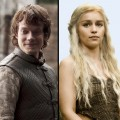 Alfie Allen as Theon Greyjoy, Emilia Clarke as Daenerys Targaryen
