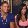 "Ronnie Ortiz-Magro and Nicole ""Snooki"" Polizzi chat with Access Hollywood at the ""Jersey Shore"" Season 4 junket in Seaside Heights, New Jersey, on August 4, 2011"
