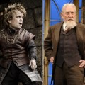 "Peter Dinkalge in ""Game of Thrones"" (left) and Roy Dotrice on stage in London, March 2006 (right)"