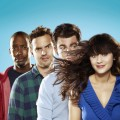 "Lamorne Morris as Winston, Jake Johnson as Nick, Max Greenfield as Schmidt and Zooey Deschanel as Jess in ""New Girl"" on FOX"