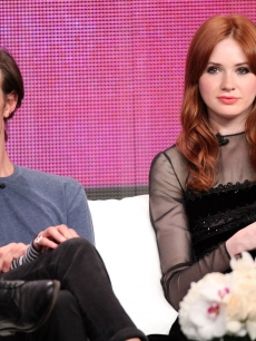 "Matt Smith and Karen Gillan speak during the ""Doctor Who"" panel during the BBC America portion of the 2011 Summer TCA Tour held at the Beverly Hilton, Beverly Hills, on July 28, 2011"