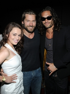 "Emilia Clarke, Nikolaj Coster-Waldau and Jason Momoa pose at HBO's ""Game Of Thrones"" panel during Comic-Con 2011, San Diego, on July 21, 2011"