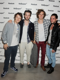 Alfie Allen, Gethin Anthony, Finn Jones, and Kit Harrington attend a private view of works by five leading artists who have created pieces inspired by Reebok's Zig Tech technology hosted by Reebok and style magazine Wallpaper* at The Great Room, London, on July 28, 2011