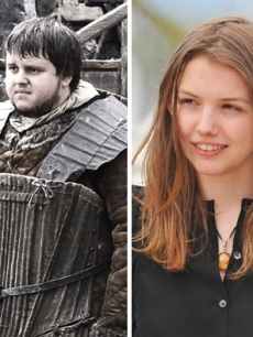 "John Bradley West in ""Game of Thrones"" (left), Hannah Murray at Cannes (right)"