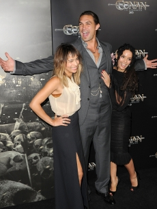 "Zoe Kravitz, Jason Momoa, and Lisa Bonet step out at the world premiere of ""Conan The Barbarian"" held in Los Angeles, Calif. on August 11, 2011"