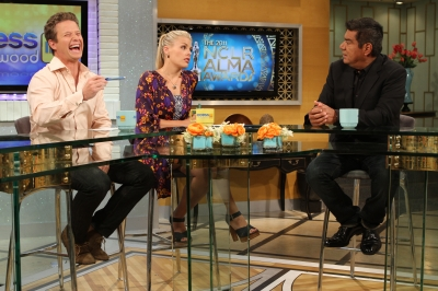 George Lopez talks with Billy Bush and guest co-host Busy Phillips about the NCLR ALMA Awards on Access Hollywood Live on July 28, 2011