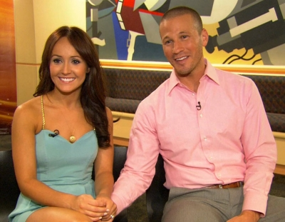 """The Bachelorette's"" Ashley Hebert and  J.P. Rosenbaum chat with Access Hollywood in New York City on August 2, 2011"
