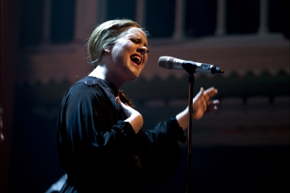 Adele performs on stage at Paradiso in Amsterdam on April 8, 2011