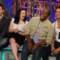 "The final four on ""The Glee Project"" — Alex, Damian, Lindsay and Samuel — have a laugh on the set of Access Hollywood Live on August 15, 2011"