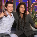 &#8220;The Glee Project&#8221; winners Damian McGinty and Samuel Larsen share a hug on the set of Access Hollywood Live on August 22, 2011