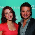 """Avengers"" stars Scarlet Johansson and Jeremy Renner pose at Disney's D23 Expo, Anaheim, Calif., Aug. 20, 2011"