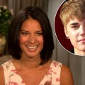 Olivia Munn chats with Access Hollywood on August 25, 2011 / inset: Justin Bieber