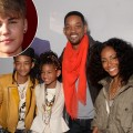 "Jaden Smith, Willow Smith, Will Smith and Jada Pinkett Smith arrive at the ""Justin Bieber: Never Say Never"" Los Angeles premiere held at Nokia Theatre L.A. Live in Los Angeles on February 8, 2011 / inset: Justin Bieber"