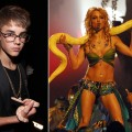 Justin Bieber with a boa constrictor at the MTV VMAs in 2011 (left), Britney Spears with a boa constrictor at the MTV VMAs (right)