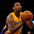 Ron Artest #15 of the Los Angeles Lakers shoots a free throw while taking on the New Orleans Hornets in Game Two of the Western Conference Quarterfinals in the 2011 NBA Playoffs on April 20, 2011