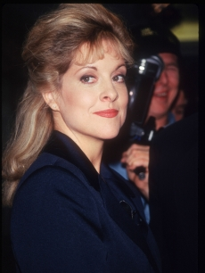 "Former prosecutor Nancy Grace stands at a press conference for the television show ""Cochran and Grace,"" NYC, November 12, 1996"