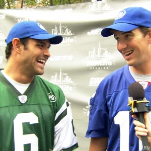 Eli Manning & Mark Sanchez Get Ready To Face-Off!