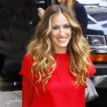 Sarah Jessica Parker sports a bold and bright ensemble at the 'Late Show With David Letterman' in New York City on September 7, 2011